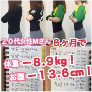 松本市のダイエット専門パーソナルトレーニングジム「スタジオコア」で体重約9キロウエスト13.6センチ減を達成された20代女性M様のダイエット記録