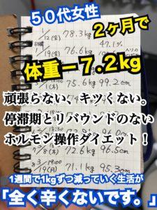 松本市のダイエット専門パーソナルトレーニングジム「スタジオコア」で体重7.2キロ減を達成された50代女性のダイエット記録