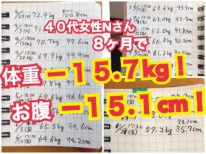 松本市のダイエット専門パーソナルトレーニングジム「スタジオコア」で体重15.7キロとウエスト15.1センチ減を達成した40代女性N様のダイエット記録はこちら
