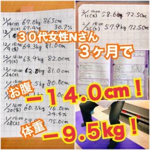 松本市のダイエット専門パーソナルトレーニングジム「スタジオコア」で体重9.5キロとウエスト14センチ減を達成された30代女性N様のダイエット記録