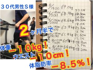 松本市のダイエット専門パーソナルトレーニングジムに通うS様のダイエット記録2ヶ月半で10キロ10センチと体脂肪率8.5%の減量に成功まだまだ続く